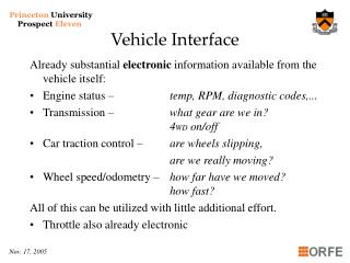 Vehicle Interface