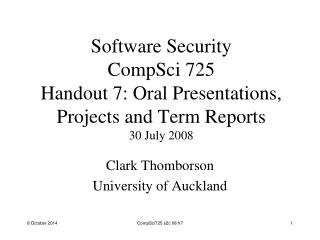 Clark Thomborson University of Auckland