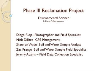 Phase III Reclamation Project