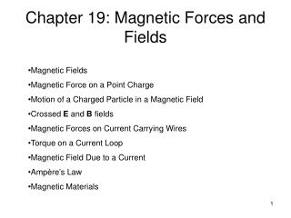 Chapter 19: Magnetic Forces and Fields