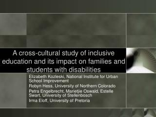 A cross-cultural study of inclusive education and its impact on families and students with disabilities