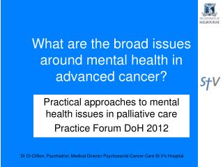 What are the broad issues around mental health in advanced cancer?
