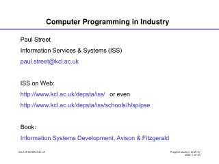 Computer Programming in Industry