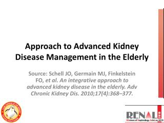Approach to Advanced Kidney Disease Management in the Elderly
