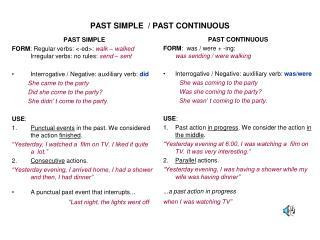 PAST SIMPLE / PAST CONTINUOUS