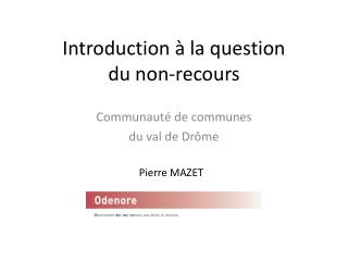 Introduction à la question  du non-recours