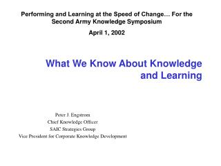 What We Know About Knowledge  and Learning