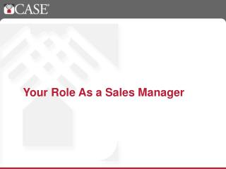 Your Role As a Sales Manager