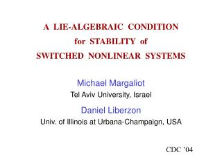 A  LIE-ALGEBRAIC  CONDITION   for  STABILITY  of SWITCHED  NONLINEAR  SYSTEMS
