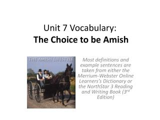 Unit 7 Vocabulary: The  Choice to be Amish