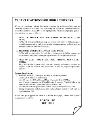 VACANT POSITIONS FOR HIGH ACHIEVERS
