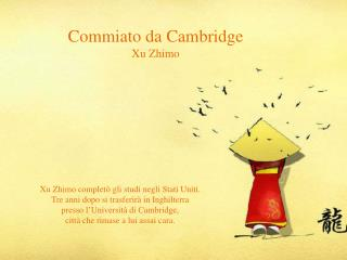 Commiato da Cambridge Xu Zhimo