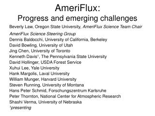 AmeriFlux: Progress and emerging challenges
