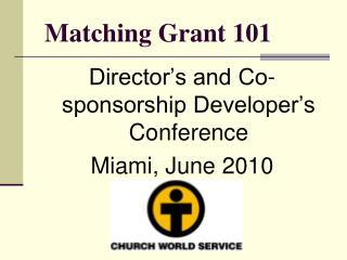 Matching Grant 101