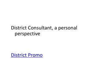 District Consultant, a personal perspective District Promo