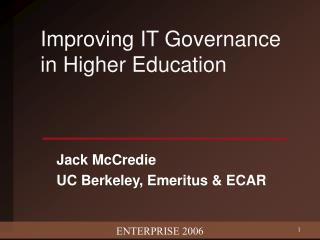 Improving IT Governance in Higher Education