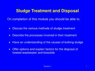 Sludge Treatment and Disposal