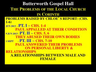 Butterworth Gospel Hall The Problems of the Local Church  in Corinth