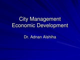 City Management Economic Development