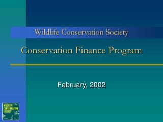 Conservation Finance Program