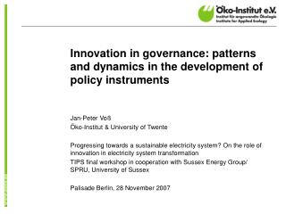 Innovation in governance: patterns and dynamics in the development of policy instruments