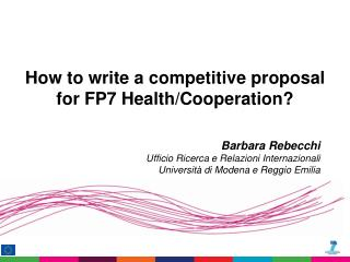 How to write a competitive proposal for FP7 Health/Cooperation?