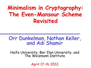 Minimalism in Cryptography: The Even-Mansour Scheme Revisited