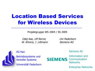 Location Based Services for Wireless Devices