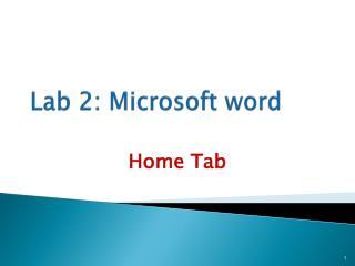 Lab 2: Microsoft word