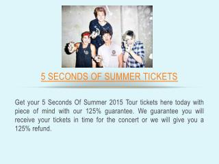 5 Seconds of Summer 2015 Tour Dates