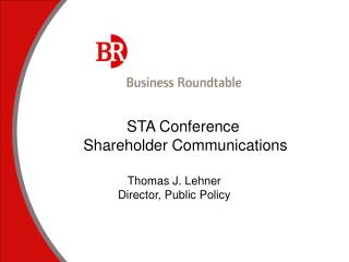 STA Conference   Shareholder Communications