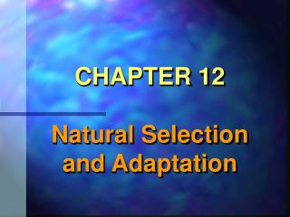 CHAPTER 12  Natural Selection and Adaptation