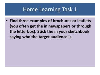 Home Learning Task 1