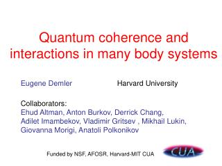 Quantum coherence and interactions in many body systems