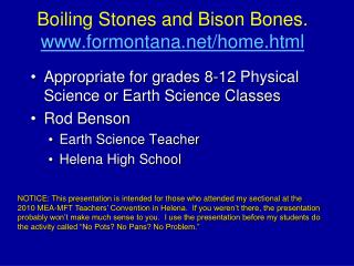 Boiling Stones and Bison Bones. formontana/home.html
