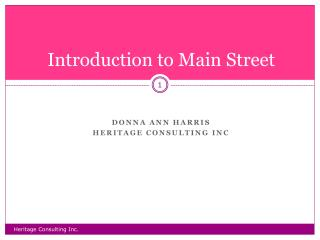 Introduction to Main Street