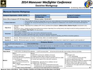 2014 Maneuver Warfighter Conference  Doctrine Workgroup