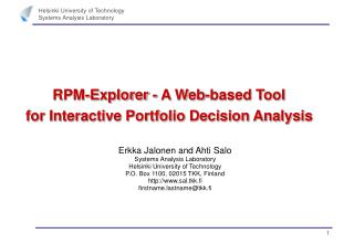 RPM-Explorer - A Web-based Tool  for Interactive Portfolio Decision Analysis