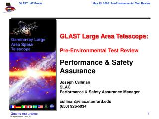GLAST Large Area Telescope: Pre-Environmental Test Review