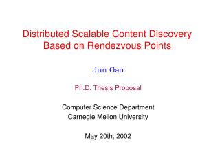 Distributed Scalable Content Discovery Based on Rendezvous Points