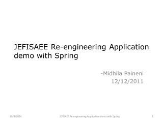 JEFISAEE Re-engineering Application demo with Spring