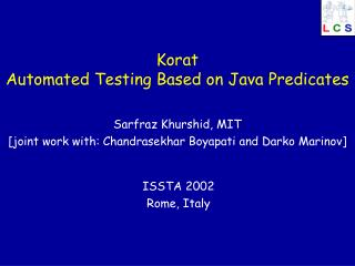 Korat Automated Testing Based on Java Predicates