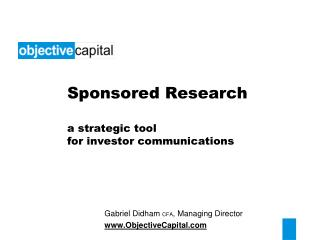 Sponsored Research a strategic tool  for investor communications