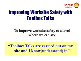 Improving Worksite Safety with Toolbox Talks