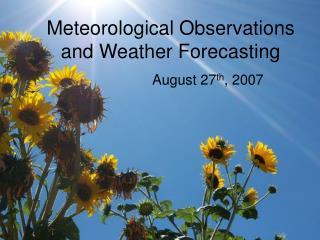 Meteorological Observations and Weather Forecasting