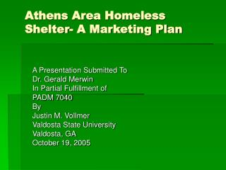 Athens Area Homeless Shelter- A Marketing Plan