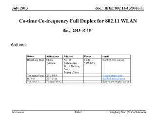 Co-time Co-frequency Full Duplex for 802.11 WLAN
