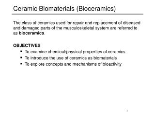 Ceramic Biomaterials (Bioceramics)