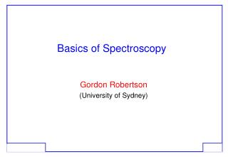 Basics of Spectroscopy