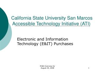 California State University San Marcos  Accessible Technology Initiative (ATI)